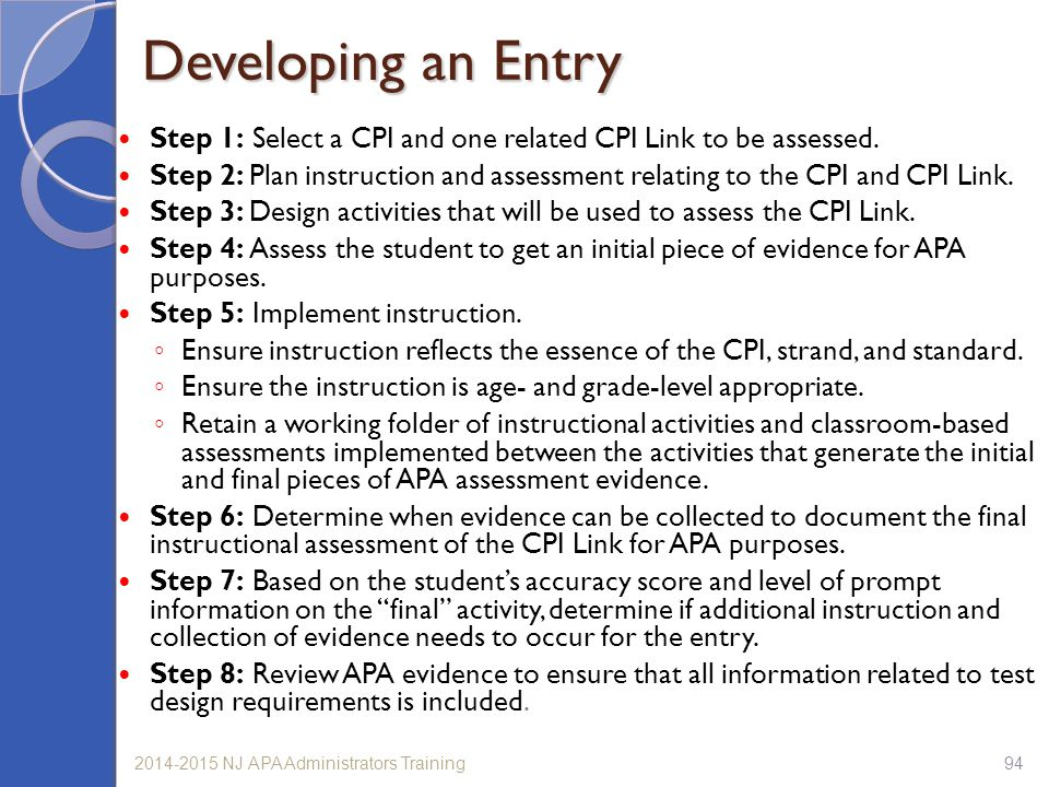 Developing an Entry Step 1: Select a CPI and one related CPI Link to be assessed.