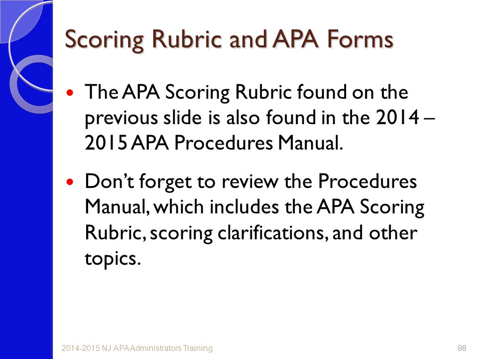 Scoring Rubric and APA Forms