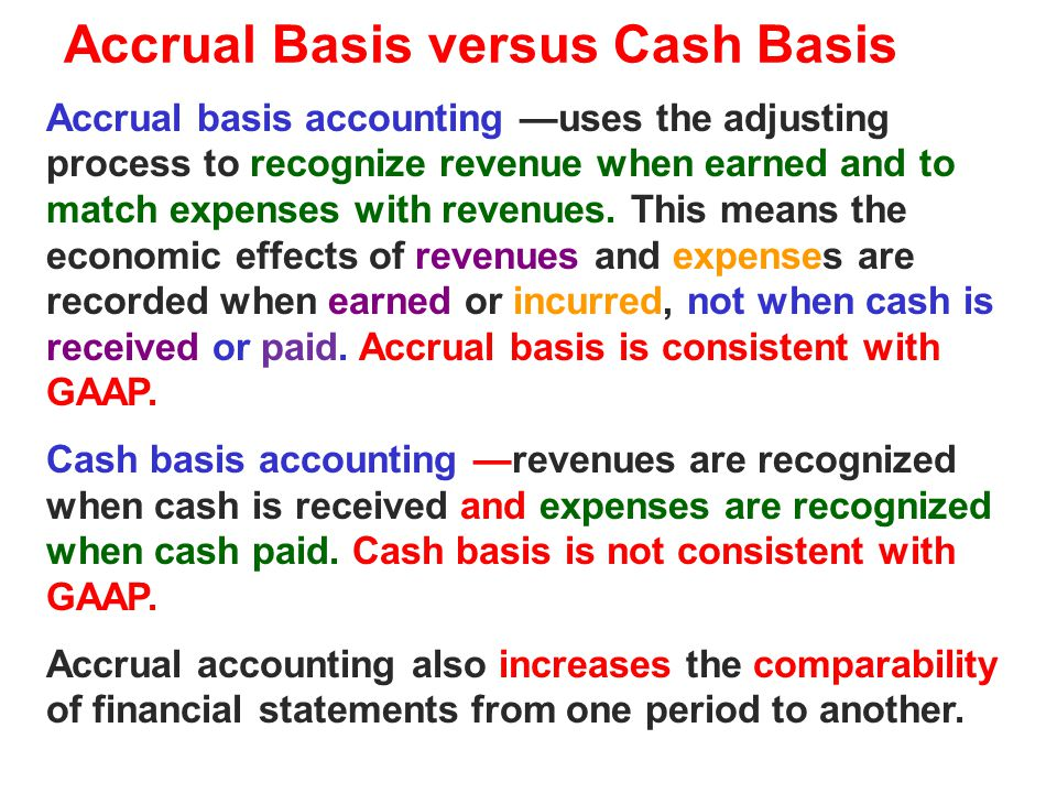 Accrual Basis versus Cash Basis