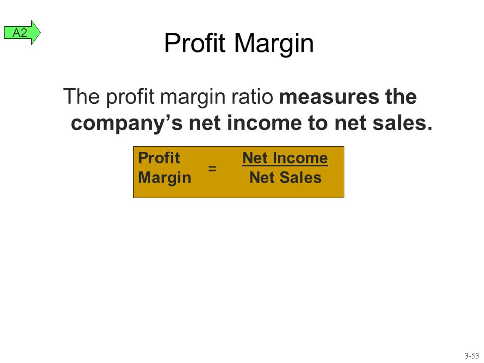Profit Margin A2. The profit margin ratio measures the company's net income to net sales. Profit.