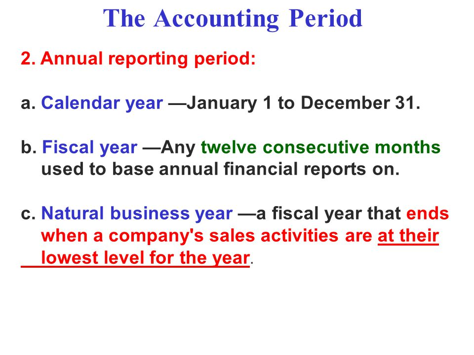 The Accounting Period 2. Annual reporting period: