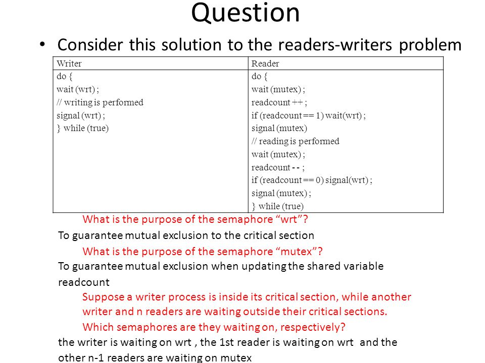 Question Consider this solution to the readers-writers problem