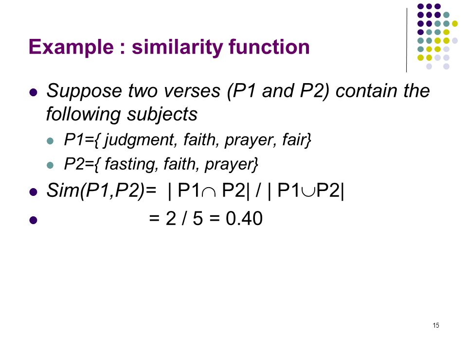 Example : similarity function