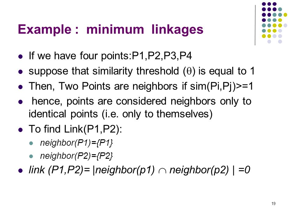 Example : minimum linkages