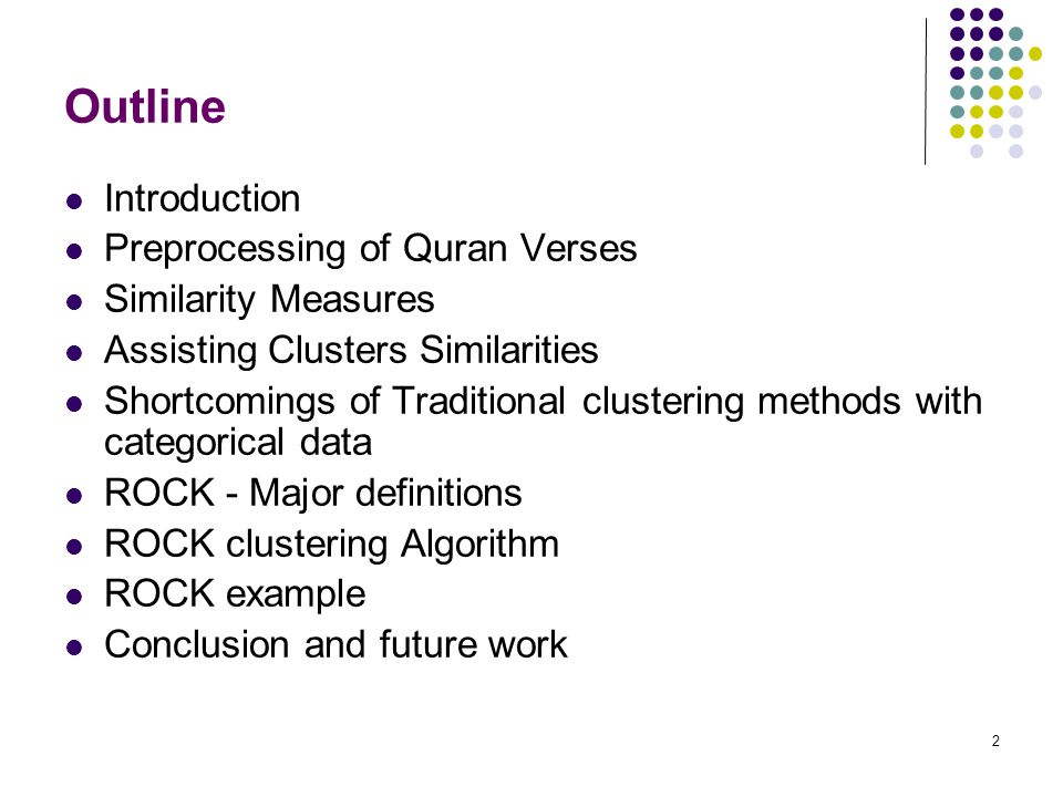 Outline Introduction Preprocessing of Quran Verses Similarity Measures