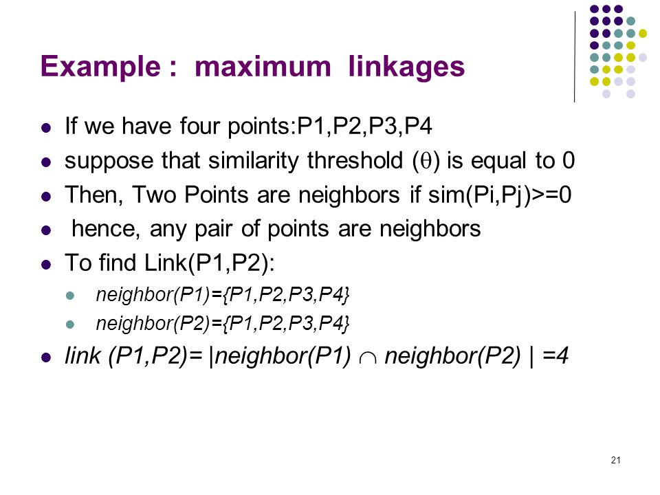 Example : maximum linkages