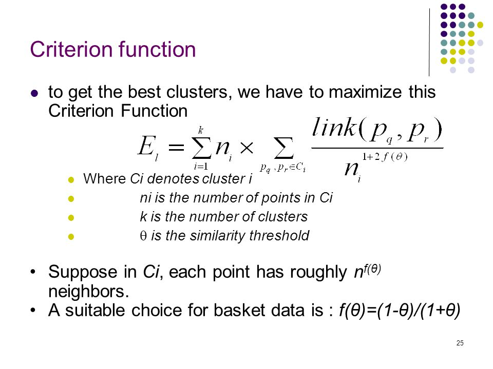Criterion function to get the best clusters, we have to maximize this Criterion Function. Where Ci denotes cluster i.