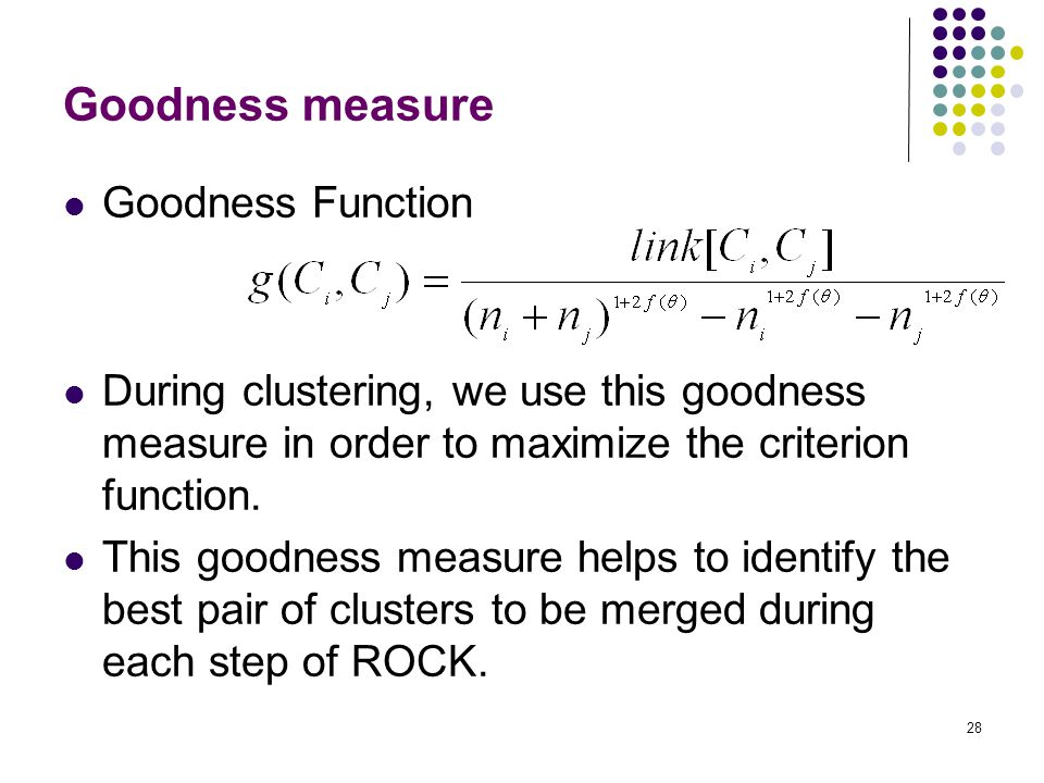 Goodness measure Goodness Function