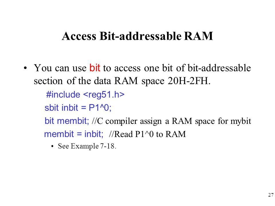 Access Bit-addressable RAM