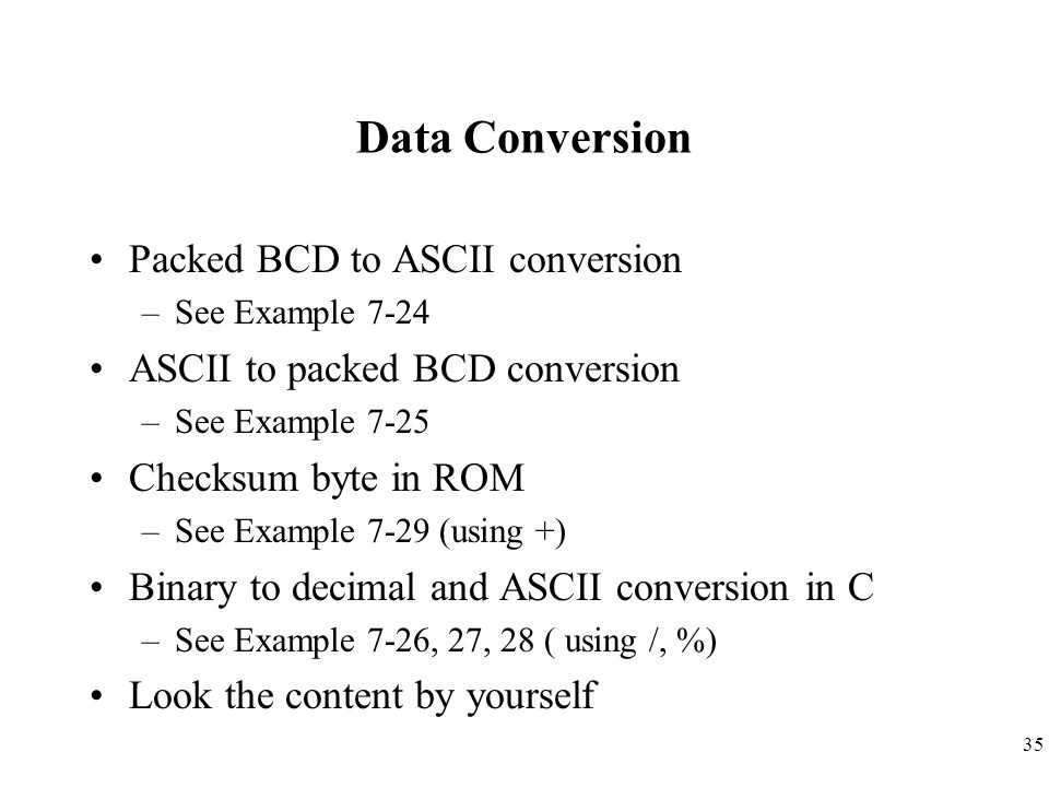 Data Conversion Packed BCD to ASCII conversion