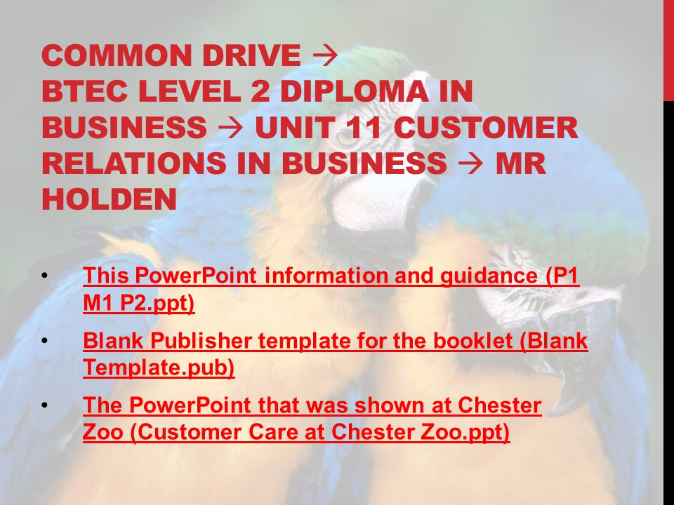 Common drive  Btec level 2 diploma in business  unit 11 customer relations in business  mr holden