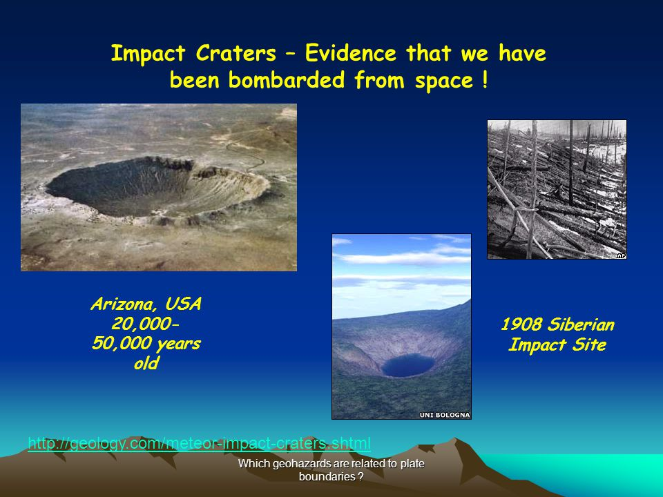 Impact Craters – Evidence that we have been bombarded from space !