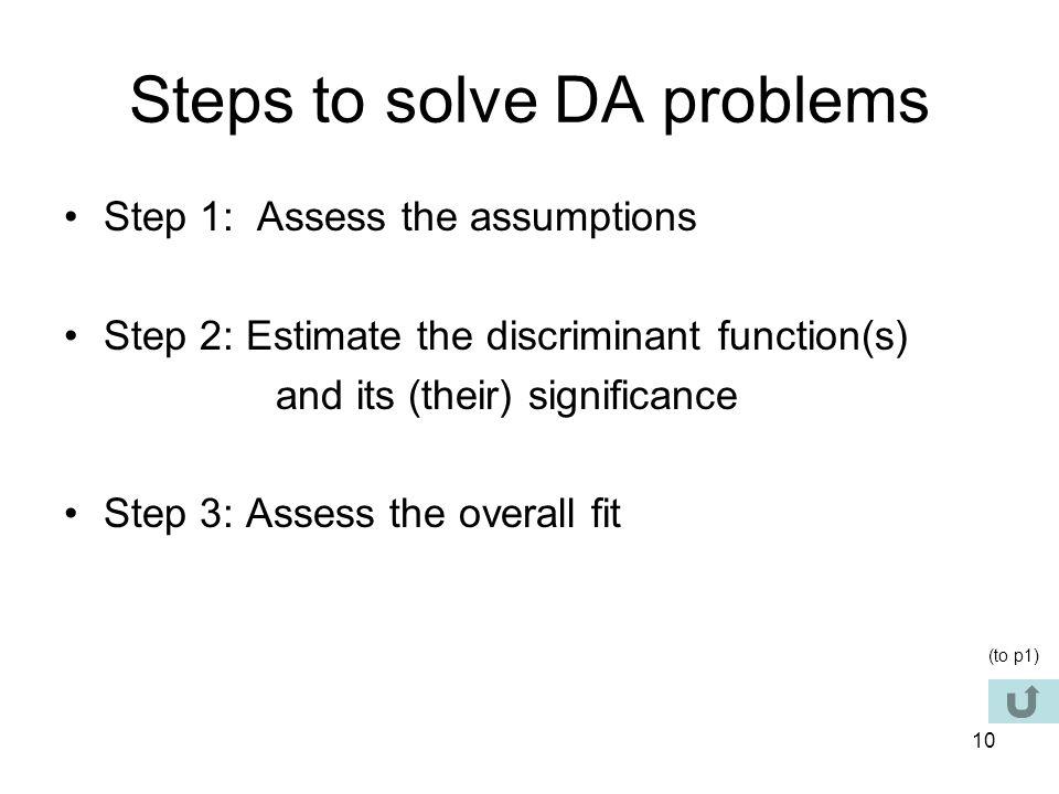 Steps to solve DA problems