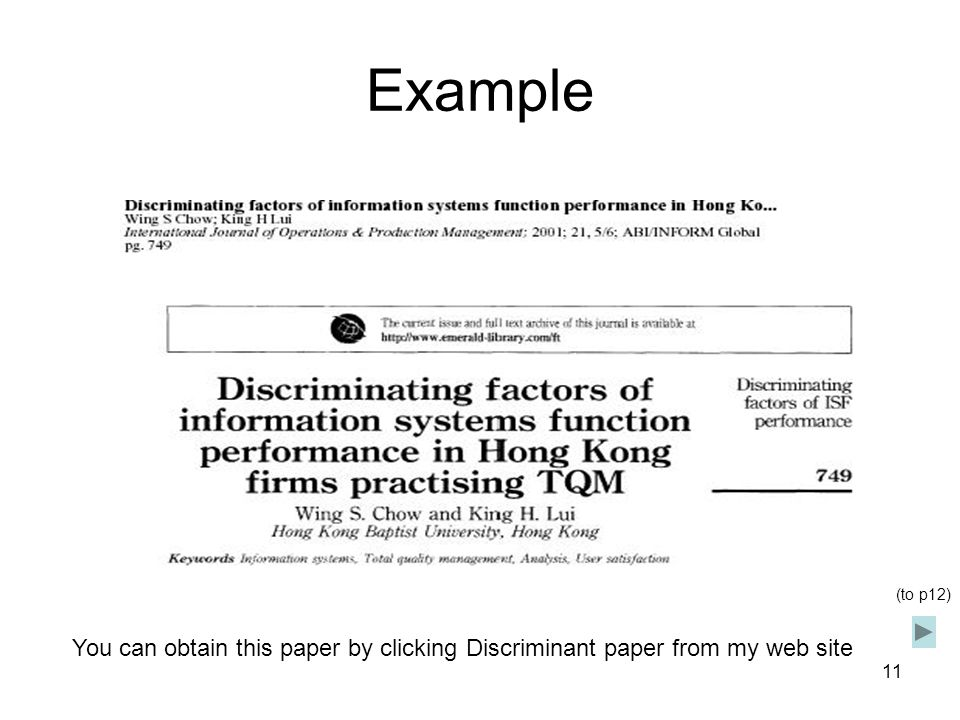 Example (to p12) You can obtain this paper by clicking Discriminant paper from my web site