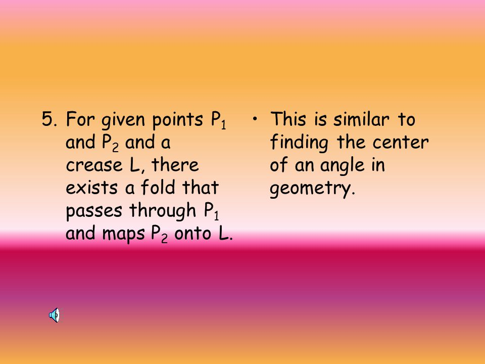 For given points P1 and P2 and a crease L, there exists a fold that passes through P1 and maps P2 onto L.