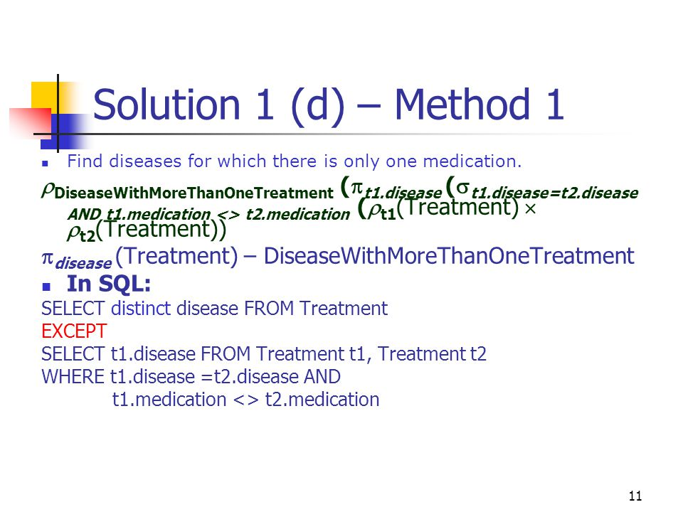 Solution 1 (d) – Method 1 Find diseases for which there is only one medication.
