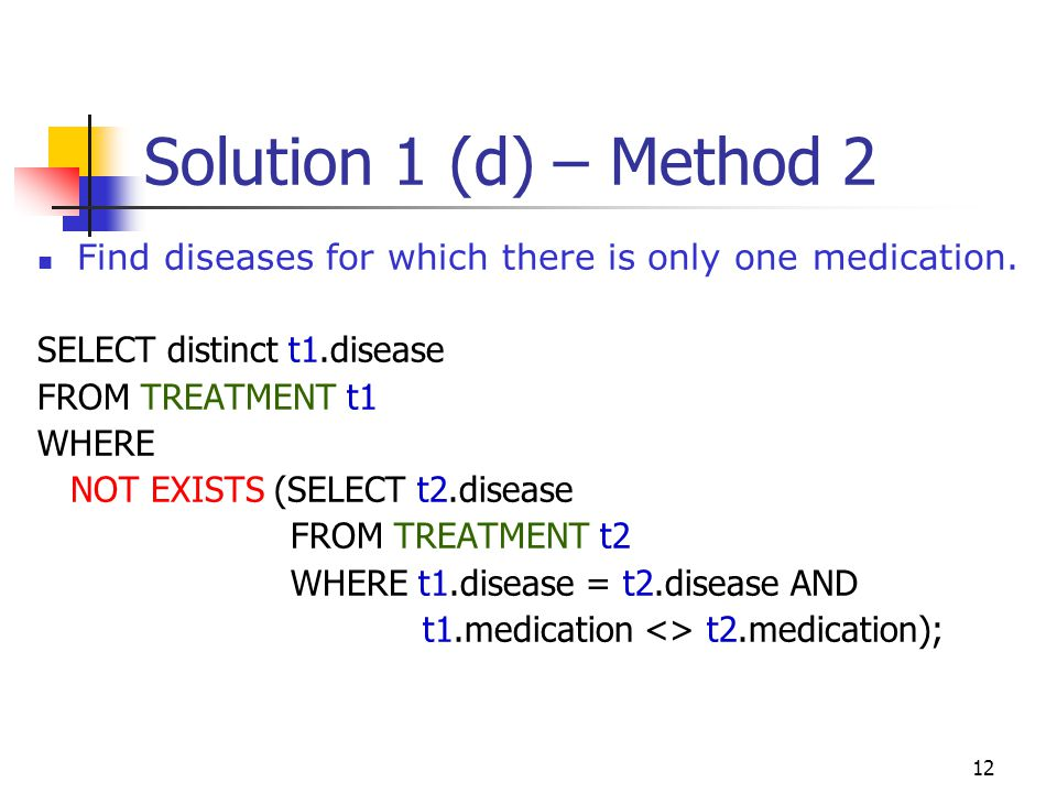 Solution 1 (d) – Method 2 Find diseases for which there is only one medication. SELECT distinct t1.disease.