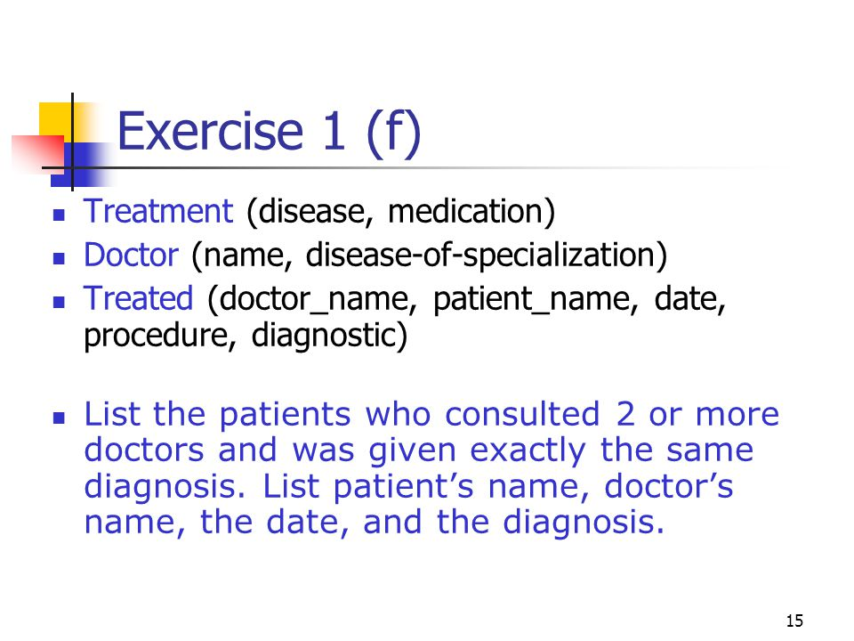Exercise 1 (f) Treatment (disease, medication)