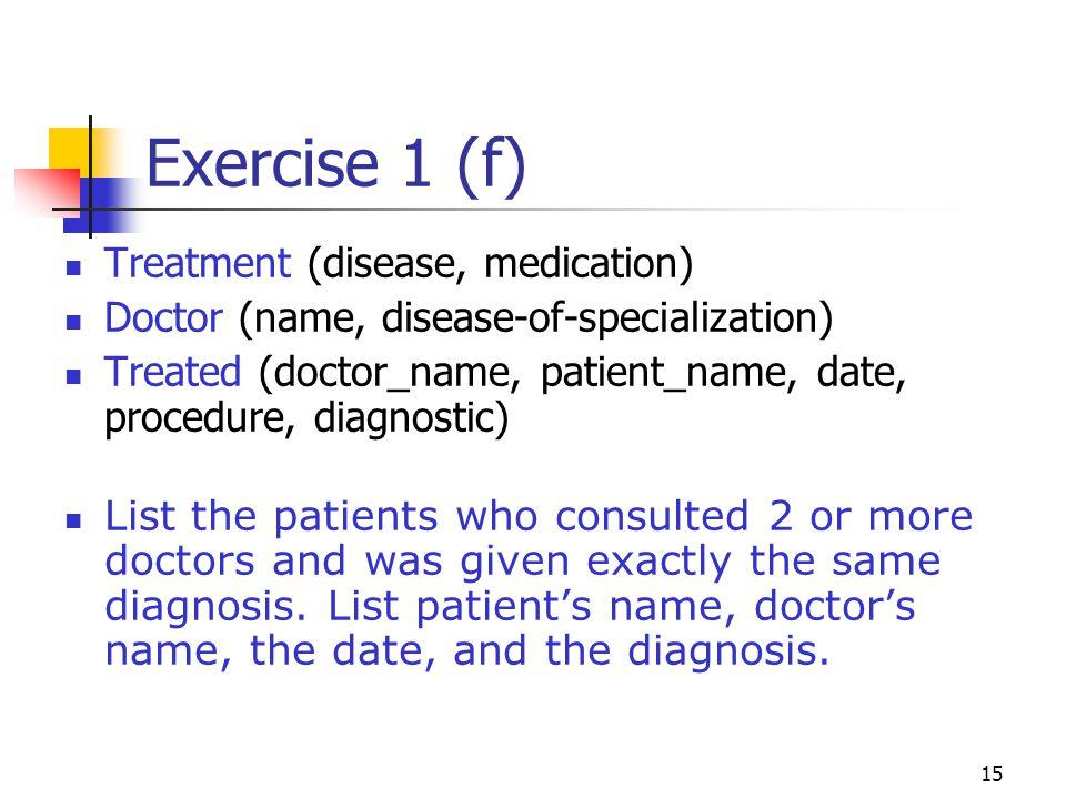 Exercise 1 (f) Treatment (disease, medication)