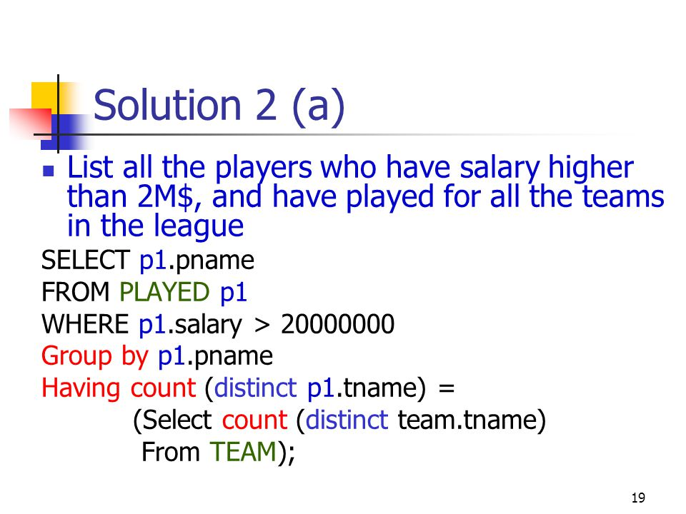 Solution 2 (a) List all the players who have salary higher than 2M$, and have played for all the teams in the league.