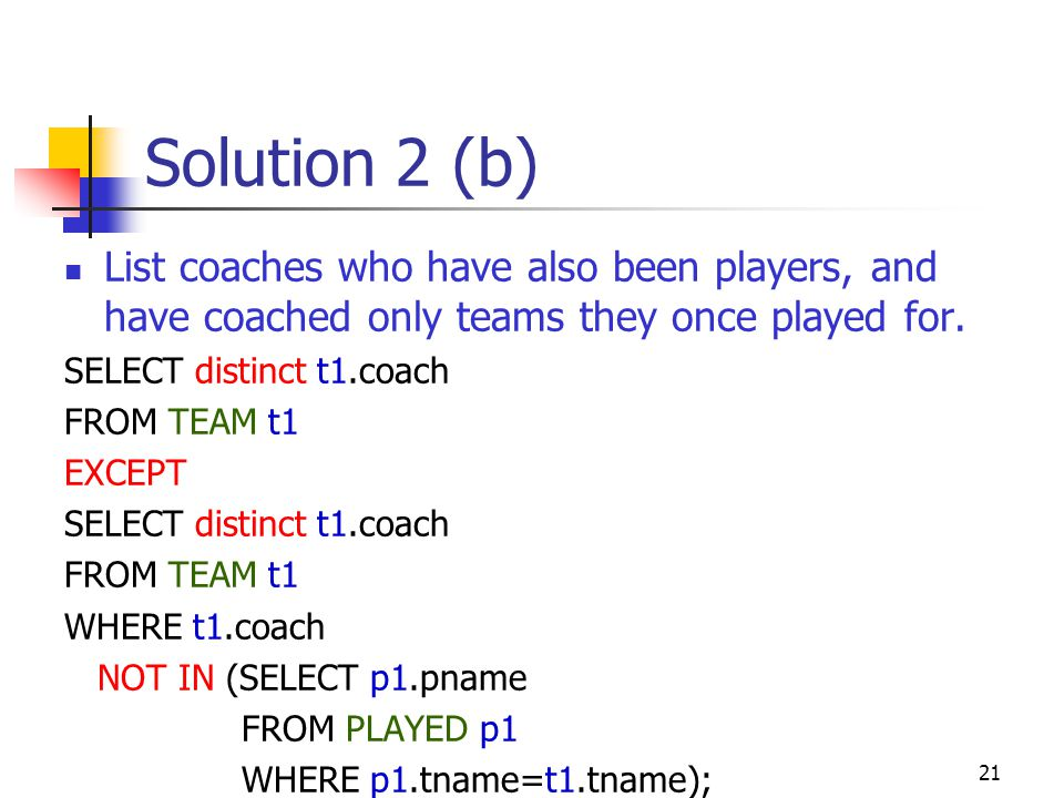 Solution 2 (b) List coaches who have also been players, and have coached only teams they once played for.