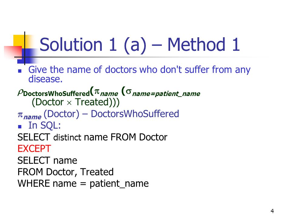 Solution 1 (a) – Method 1 Give the name of doctors who don t suffer from any disease. DoctorsWhoSuffered(name (name=patient_name.
