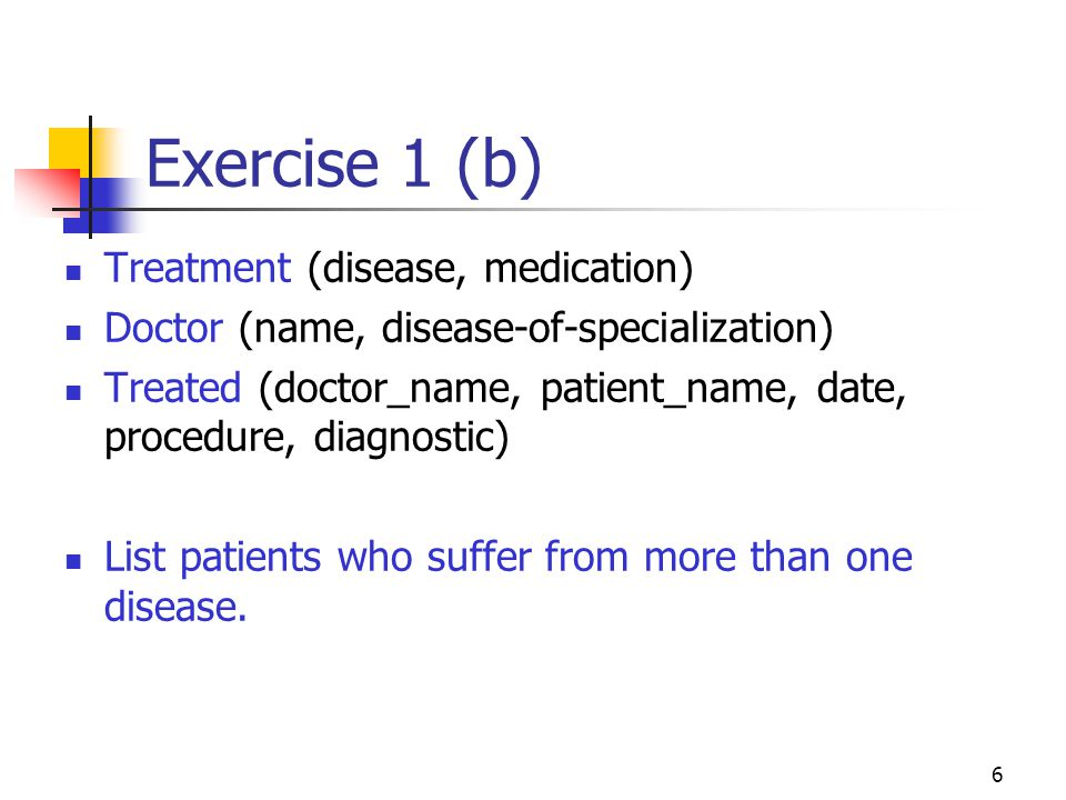 Exercise 1 (b) Treatment (disease, medication)