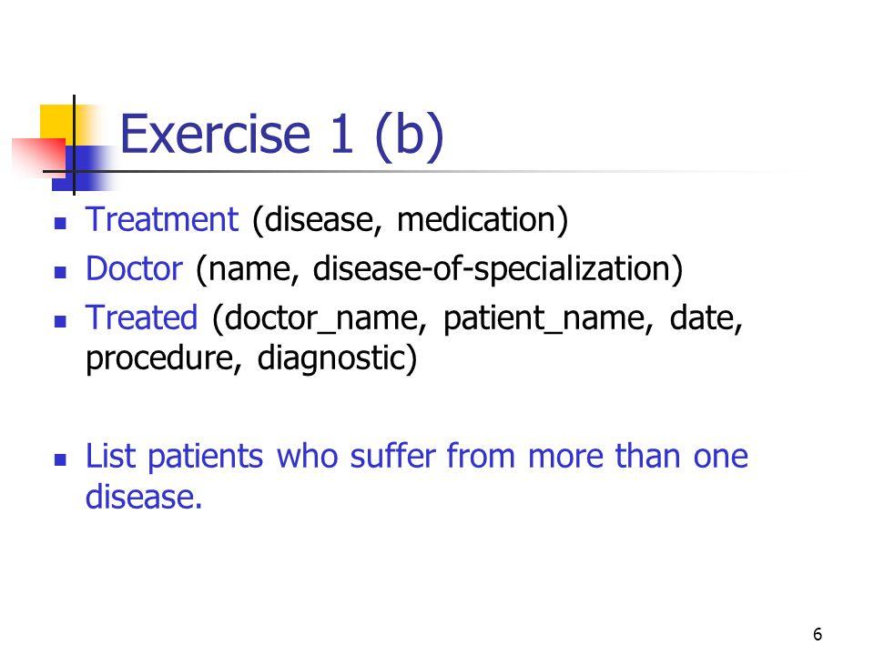 Exercise 1 (b) Treatment (disease, medication)