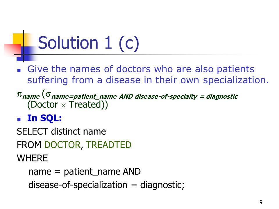 Solution 1 (c) Give the names of doctors who are also patients suffering from a disease in their own specialization.