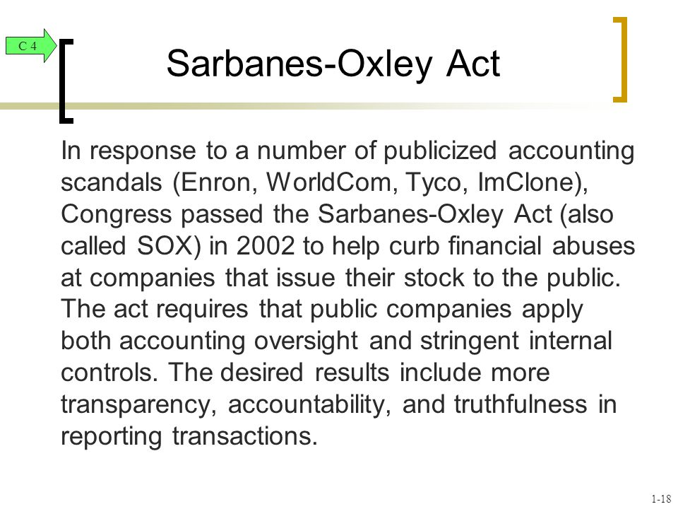 Sarbanes-Oxley Act C 4.