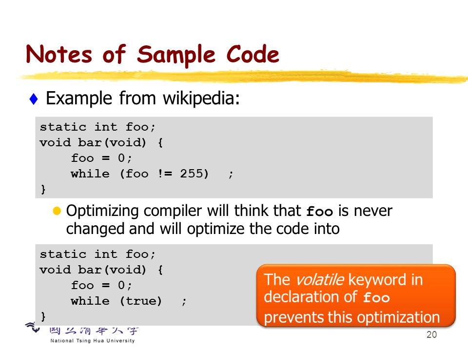 Notes of Sample Code Bit manipulation: