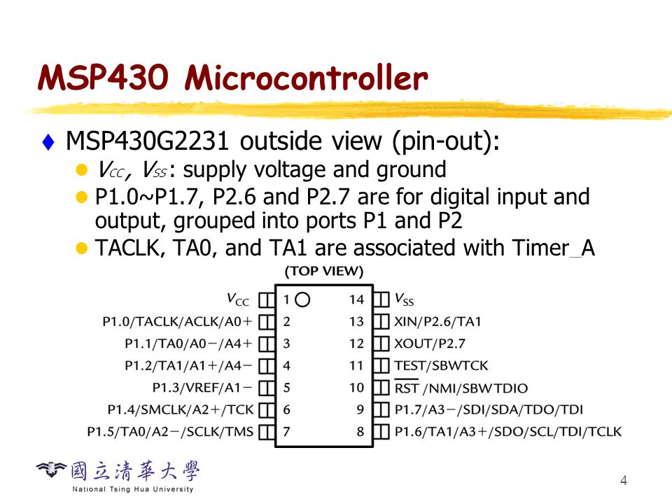 MSP430 Microcontroller MSP430G2231 outside view: (cont'd)