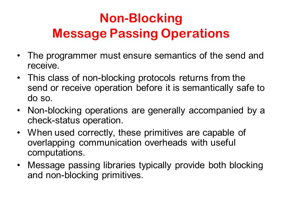 Non-Blocking Message Passing Operations