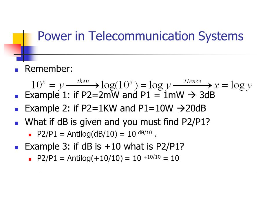 Power in Telecommunication Systems