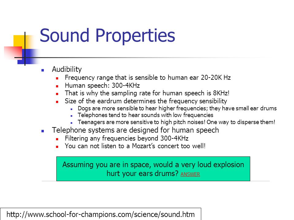 Sound Properties Audibility