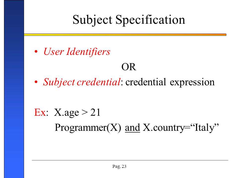 Subject Specification