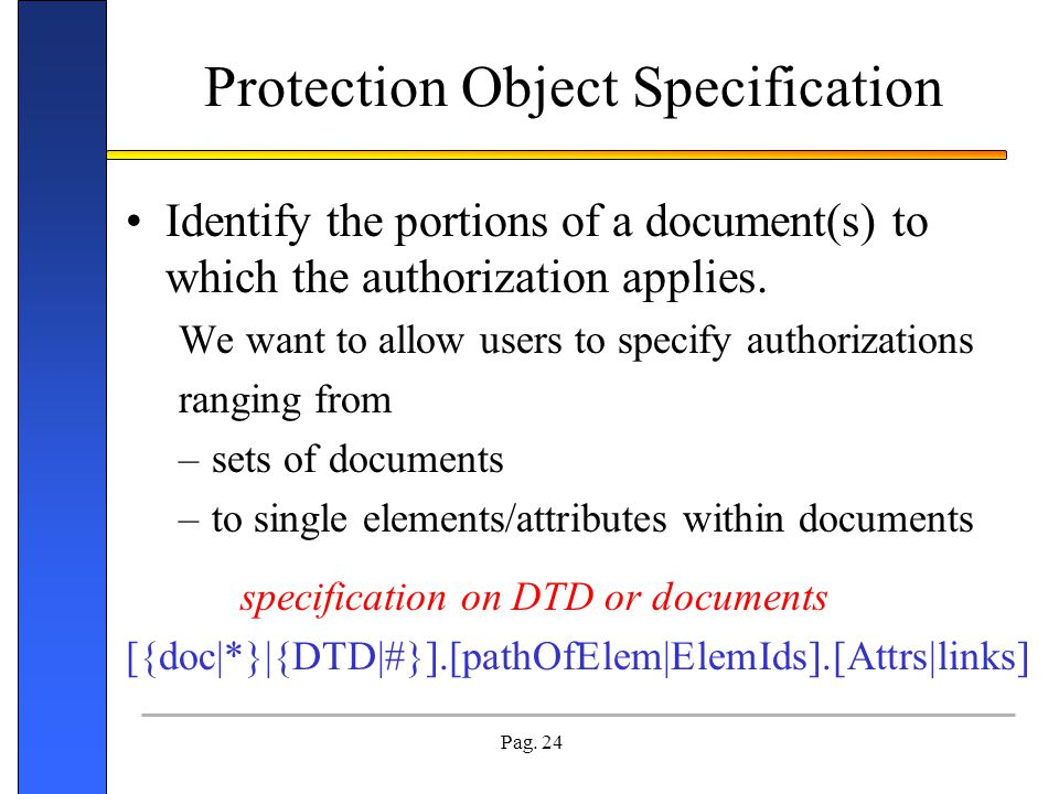 Protection Object Specification