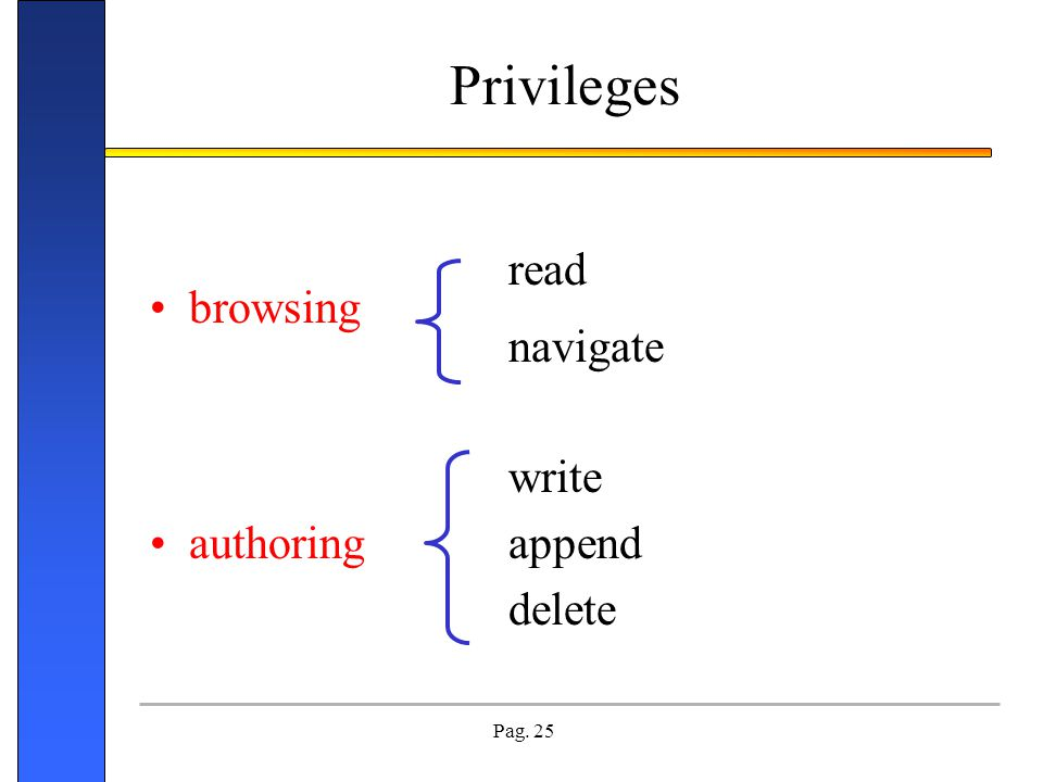 Privileges read browsing navigate write authoring append delete