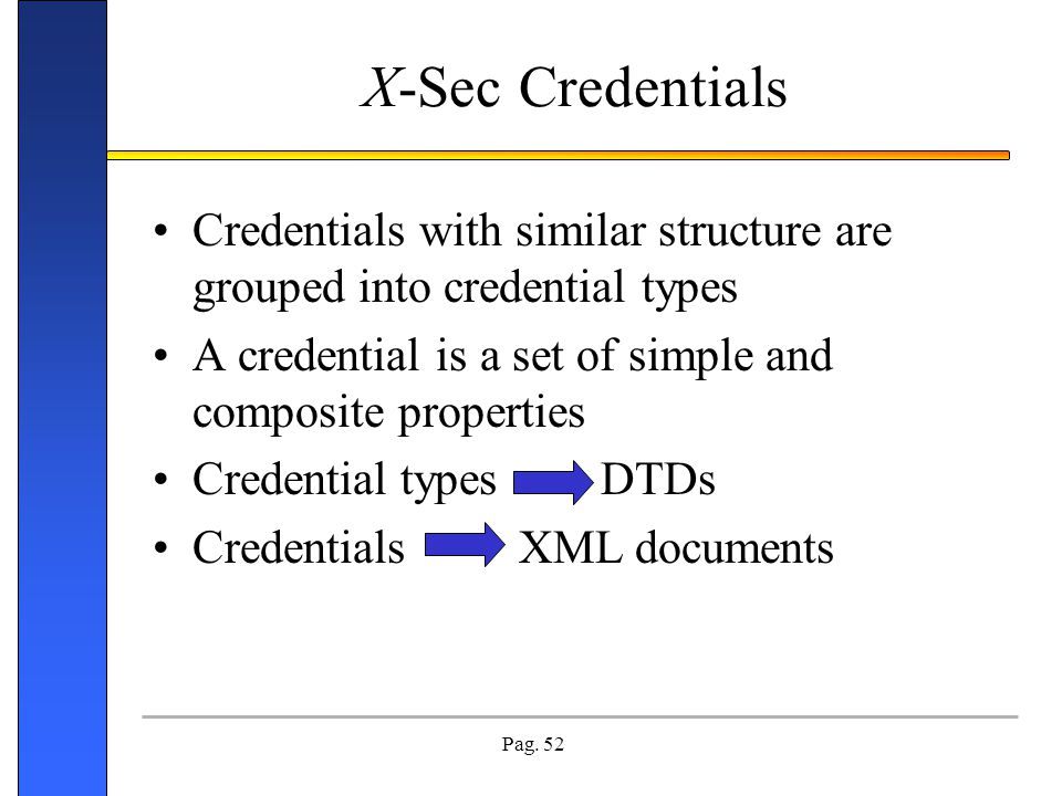 X-Sec Credentials Credentials with similar structure are grouped into credential types. A credential is a set of simple and composite properties.