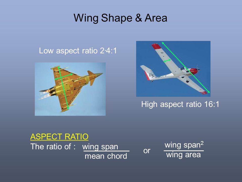 Wing Shape & Area Low aspect ratio 2.4:1 High aspect ratio 16:1