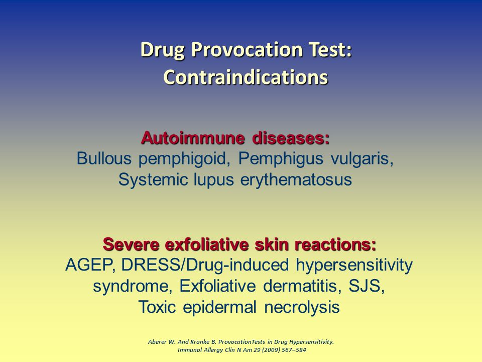 Drug Provocation Test: Contraindications