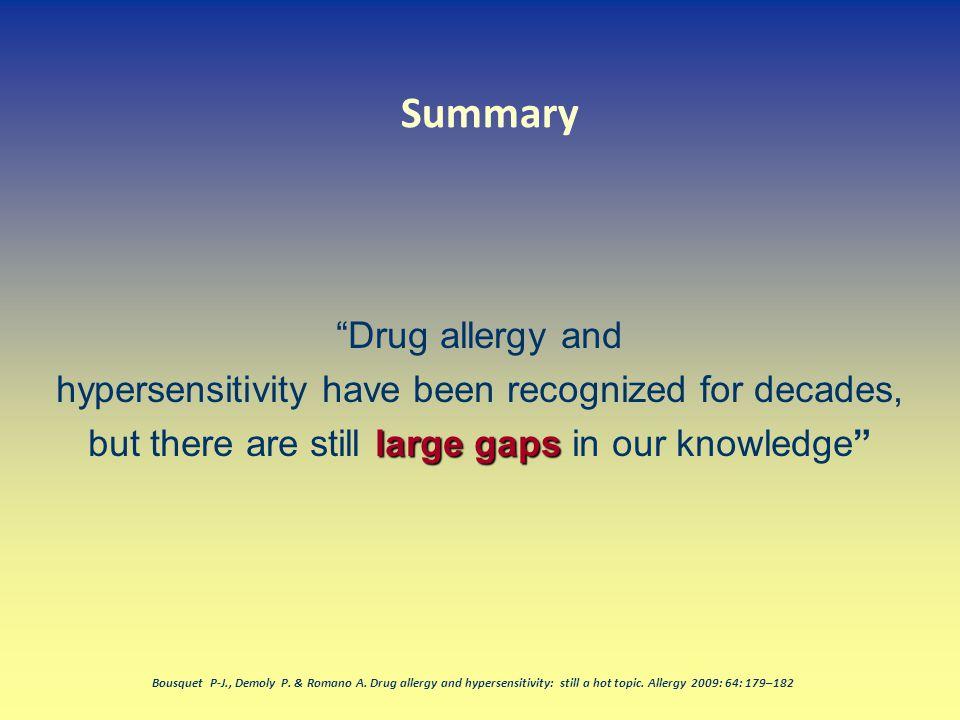 Summary Drug allergy and