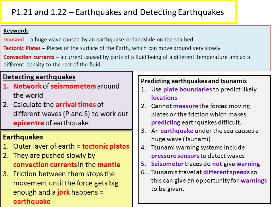 P1.21 and 1.22 – Earthquakes and Detecting Earthquakes