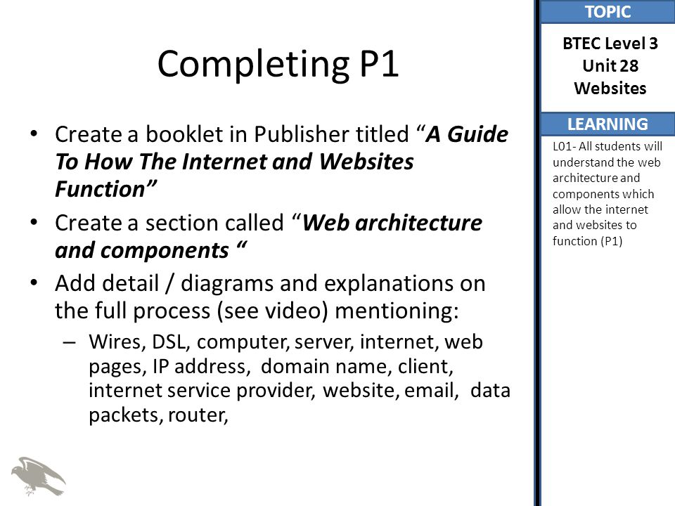 Completing P1 Create a booklet in Publisher titled A Guide To How The Internet and Websites Function