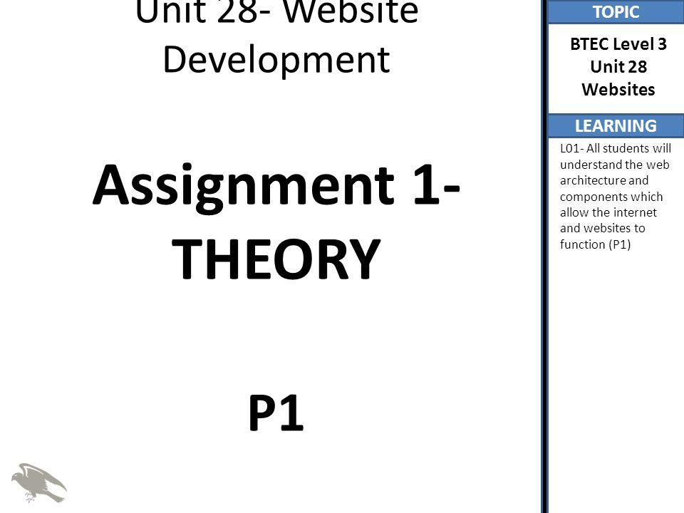 Unit 28- Website Development Assignment 1- THEORY P1