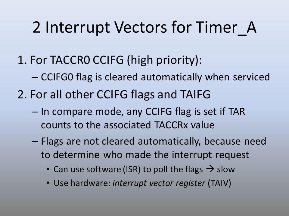 2 Interrupt Vectors for Timer_A