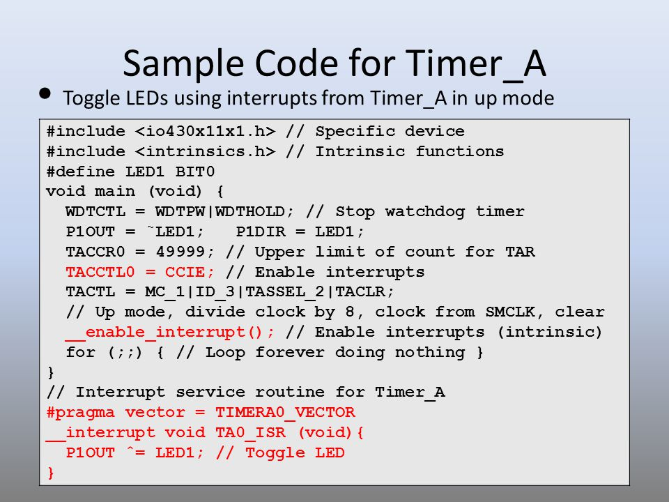 Sample Code for Timer_A