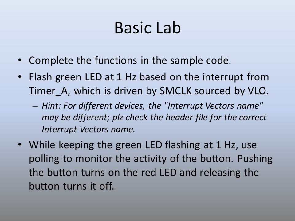 Basic Lab Complete the functions in the sample code.