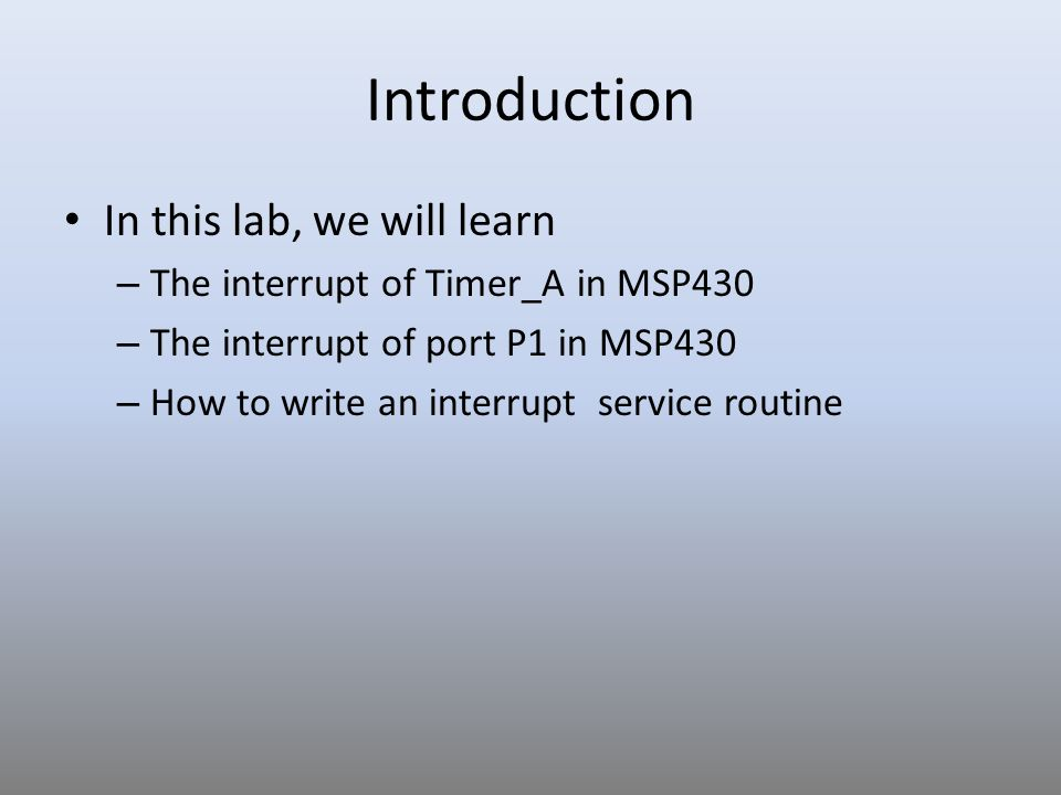 Introduction In this lab, we will learn