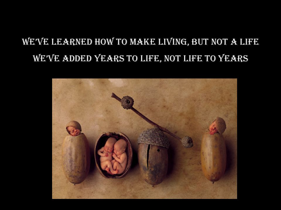 We've learned how to make living, but not a life